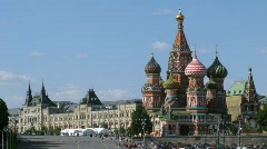 St.Basil's Cathedral and GUM in sunny day in Moscow, Russia. Stock Footage