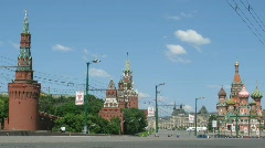 View from Bolshoy Moskvoretsky Bridge on Kremlin and Red Square in Moscow - stock footage