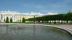 Grand Palace, Fountain Duboviy , and Upper Garden of Peterhof in St. Petersburg, Stock Footage