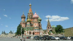 Panoramic view of popular touristic place - Saint Basil's Cathedral, Red Square - stock footage