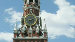 Spasskaya Tower of Moscow Kremlin in Russia Stock Footage