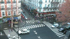 Brisk crossroads in Paris, France, the top view. Stock Footage