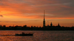 The Peter and Paul Fortress, the river Neva with steamships. Sankt-Petersburg, Stock Footage
