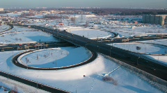 Winter cityscape with highway and residential area in the distance. Stock Footage