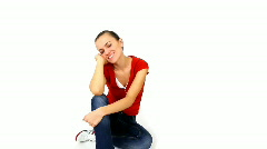 Smiling woman isolated over white background Stock Footage