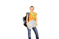 Young smiling student woman, isolated over white background   Stock Footage