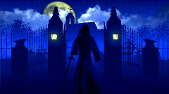 Reaper leaves from cemetary Stock Footage