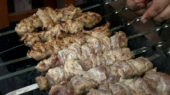 Meat on spits 003 Stock Footage