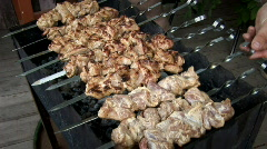 Meat on spits 014 Stock Footage