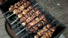 Meat on spits 011 Stock Footage