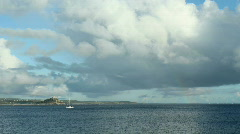 Timelapse clouds Mounts bay and sailing boats. Stock Footage