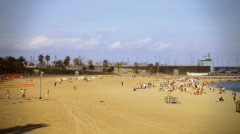 Barcelona beach summer holiday sand sea Stock Footage