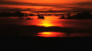 Red Sunset and Black Clouds Stock Footage