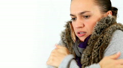 Woman feels cold Stock Footage