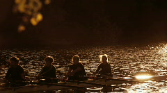 Women Rowers Training on the River Stock Footage