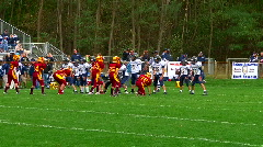 Boys football game - quarterback pass incomplete Stock Footage