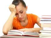 Tired female student with books, isolated Stock Footage