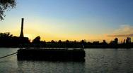 Sunset At Suburban Lake Stock Footage
