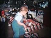 Stock Video Footage of Christmas Day Fun (1963 Vintage 8mm film)