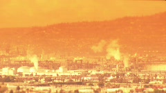 Long Beach-32-refinery global warming & normal Stock Footage
