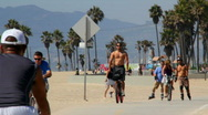 Beach Fitness 04: Cycling and Rollerblading Stock Footage