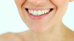 Smiling woman mouth, isolated Stock Footage