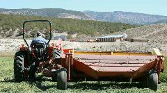 Farm tractor swather start cut P HD 0846 Stock Footage