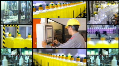 Liquid Detergent Manufacturing - Multi Screen Stock Footage