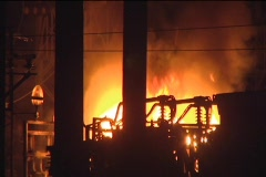 CU Fire in Industrial Area Stock Footage