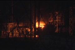 Fire Seen in Industrial Area Stock Footage