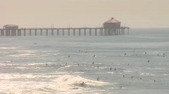 HUNTINGTON BEACH SURFERS - stock footage