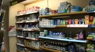 Stock Video Footage of Chemist Medicine Shelves