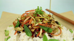 Soy Sauce On Stir Fry - stock footage