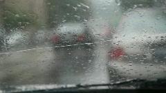 Rainy traffic. Cracked windshield. Stock Footage