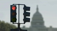 Stock Video Footage of Capitol Traffic Light Cycle