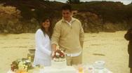 Beach Wedding Cutting Cake Stock Footage