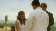 Stock Video Footage of Beach Wedding Kiss The Bride