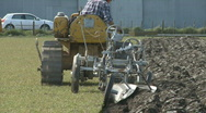 Stock Video Footage of vintage crawler and plough
