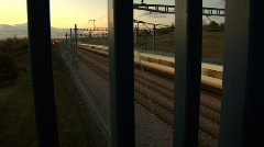 Eurostar train at dusk - stock footage