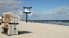 Germany - roofed wicker beach chair Stock Footage