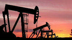Oil Pumping Silhouettes - stock footage