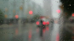 Rainy wipers and intersection with sound. Stock Footage