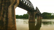 Stock Video Footage of The Khwae Yai River Bridge on the River Khwae WW2 Historic POW Death Railway