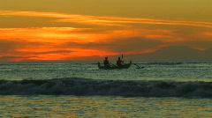 Bali Sunset Boat Lovina Beach Stock Footage
