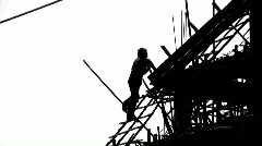 CONSTRUCTION WORKER SILHOUETTE Industry Site Building Development Scaffolding - stock footage