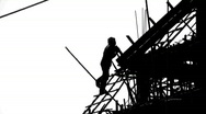 Stock Video Footage of CONSTRUCTION WORKER SILHOUETTE Industry Site Building Development Scaffolding