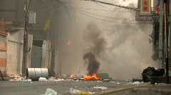 Burning Streets Civil War Terrorist Attack Smoking Ruins Bombed City Town Riot Stock Footage