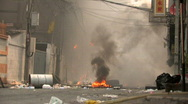 Burning Streets Civil War Terrorist Attack Smoking Ruins Bombed City Town Riot Stock Footage