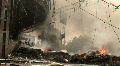 BURNING STREET CIVIL WAR Terrorist Attack Smoking Ruins Bombed City End of World Footage