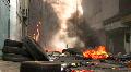 BURNING STREET Civil War Terrorist Attack Smoking Ruins Bombed Riot Explosion HD Footage